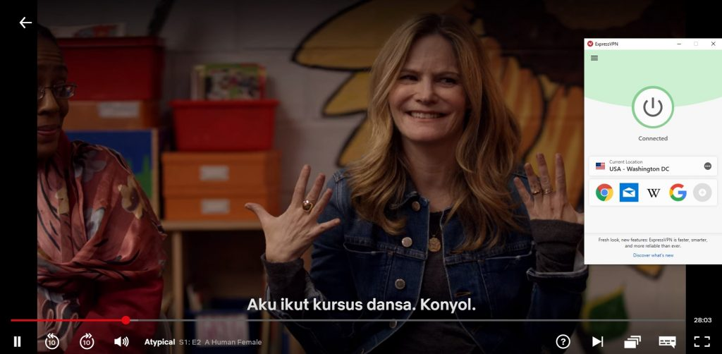 "tangkapan layar ""Atypical"" bermain di Netflix dengan ExpressVPN"