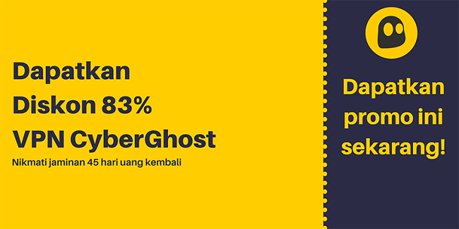 Grafik kupon VPN CyberGhost yang berfungsi menawarkan diskon 83% dan gratis 3 bulan dengan jaminan uang kembali 45 hari
