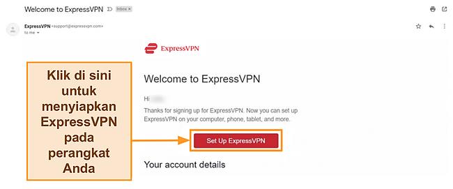 Tangkapan layar email selamat datang ExpressVPN untuk pelanggan baru dengan instruksi penyiapan