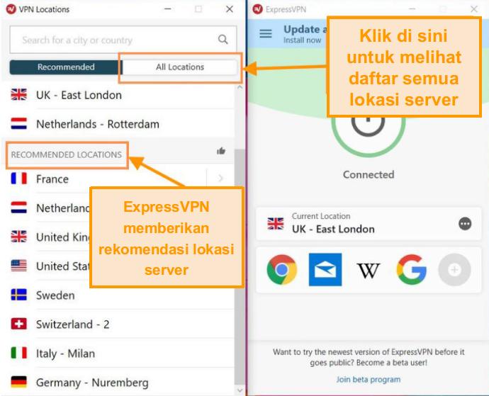 Cuplikan layar antarmuka ExpressVPN dengan daftar server