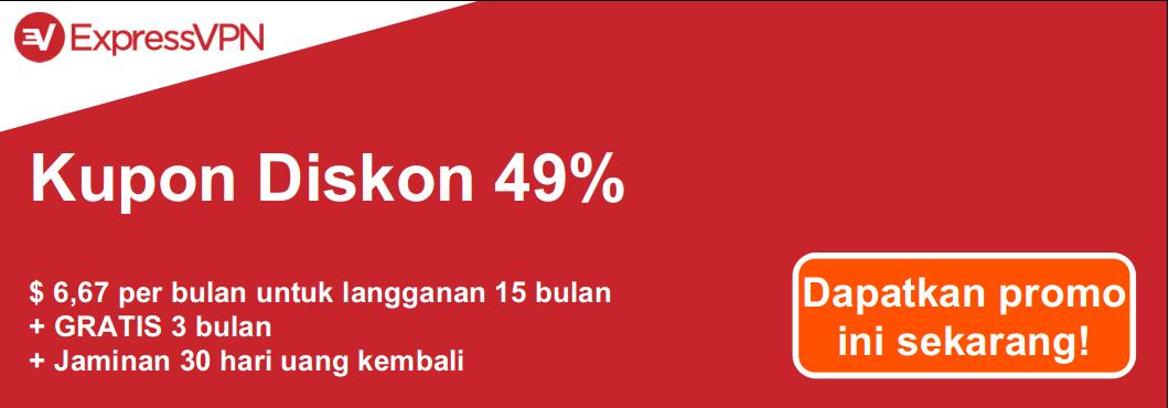 Grafik kupon ExpressVPN yang valid menawarkan diskon 49% dan 3 bulan gratis dengan jaminan uang kembali 30 hari
