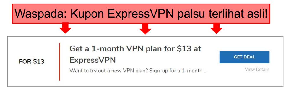 tangkapan layar dengan anotasi kupon expressvpn palsu