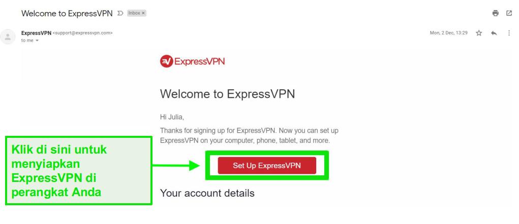 Cuplikan layar email selamat datang ExpressVPN dengan informasi pengaturan akun
