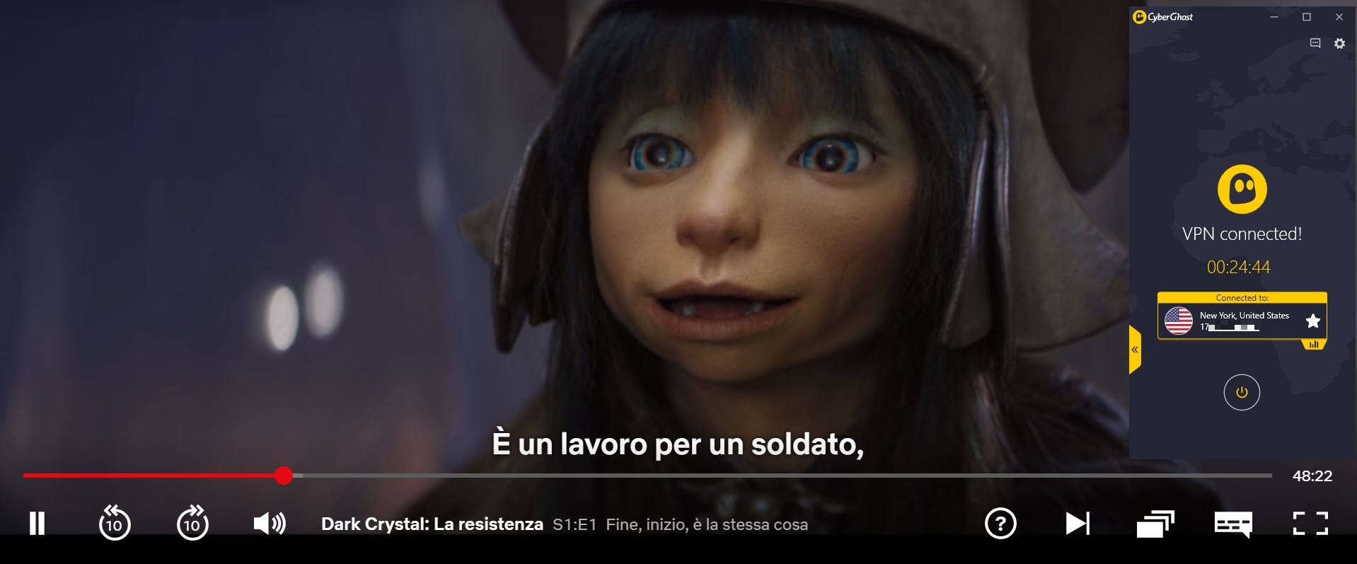 Screenshot of CyberGhost connected to US server with Dark Crystal  streaming on US Netflix