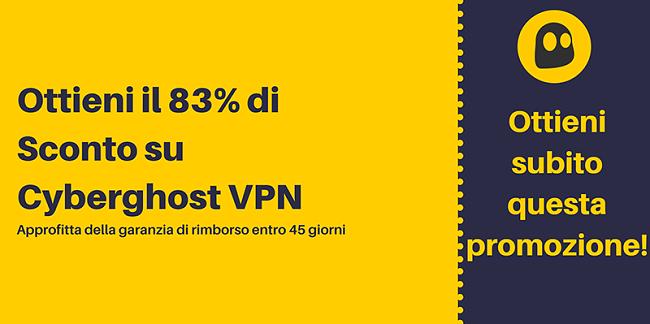Immagine di un coupon CyberGhost VPN funzionante che offre uno sconto del 83% e 3 mesi gratuiti con una garanzia di rimborso di 45 giorni