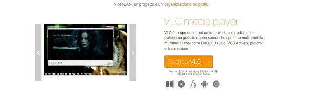 Pagina di download ufficiale di VLC