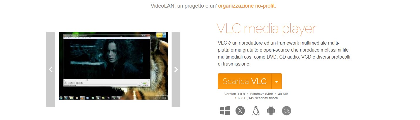 Pagina di download ufficiale di VLC