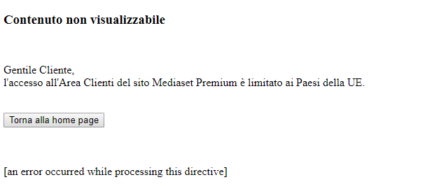 Mediaset Premium channel shows error message