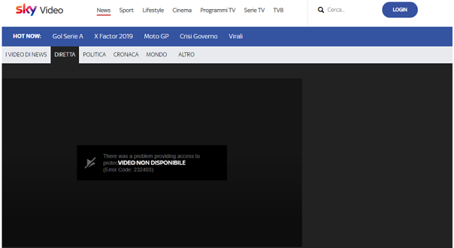 Skyvideo channel shows error message
