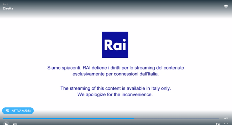 la Rai channel shows error message