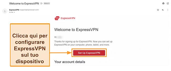 Screenshot dell'e-mail di benvenuto di ExpressVPN ai nuovi clienti con le istruzioni per la configurazione