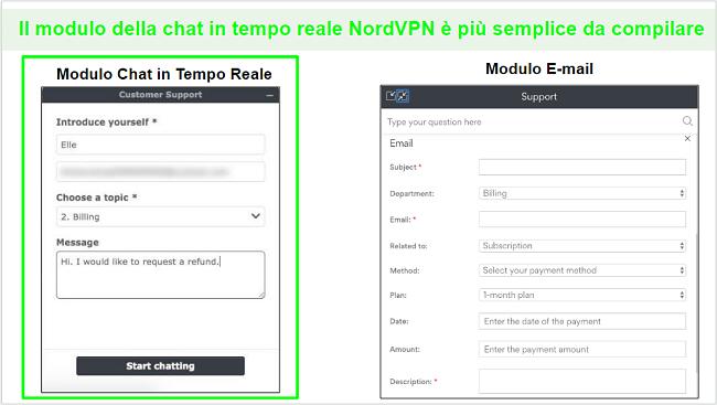Schermate di una richiesta di rimborso NordVPN tramite chat dal vivo rispetto all'e-mail