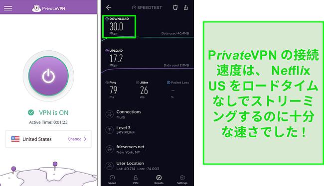 米国のサーバーに接続された PrivateVPN と Ookla の速度テストのスクリーンショット