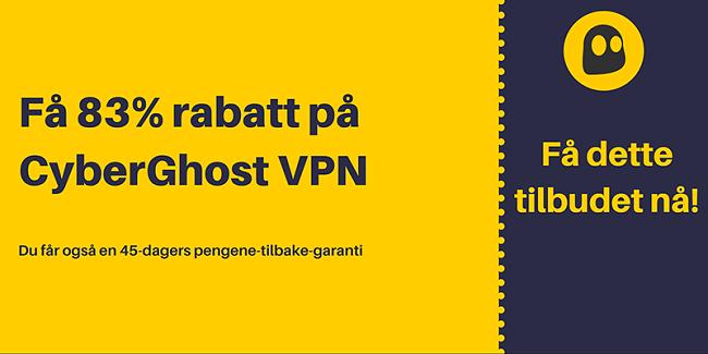 Grafikk av en fungerende CyberGhost VPN-kupong som tilbyr 83% rabatt og 3 måneder gratis med 45 dagers pengene tilbake-garanti