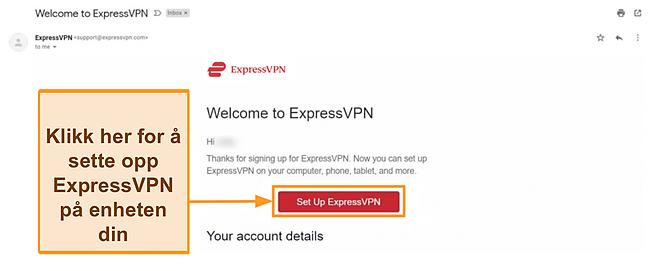Skjermbilde av ExpressVPNs velkomst-e-post til nye kunder med oppsettinstruksjoner