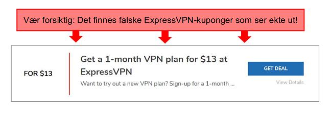 skjermbilde med merknader av en falsk expressvpn-kupong