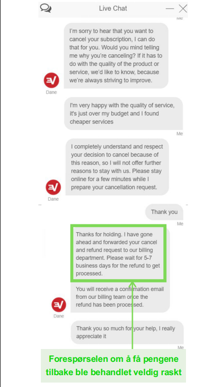 Screenshot of an ExpressVPN refund request via live chat