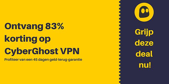 Afbeelding van een werkende CyberGhost VPN-tegoedbon met 83% korting en 3 maanden gratis met een 45 dagen geld-terug-garantie