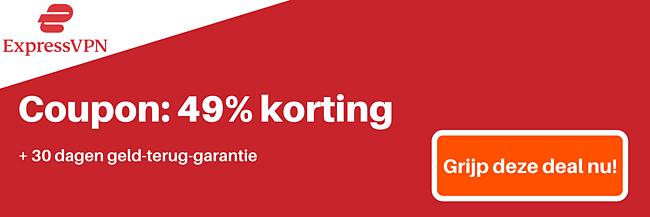 ExpressVPN-coupon voor 49% korting en 3 maanden gratis met een 30 dagen geld-terug-garantie