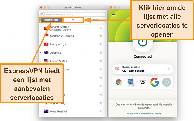 Screenshot van de serverlijst van de ExpressVPN app