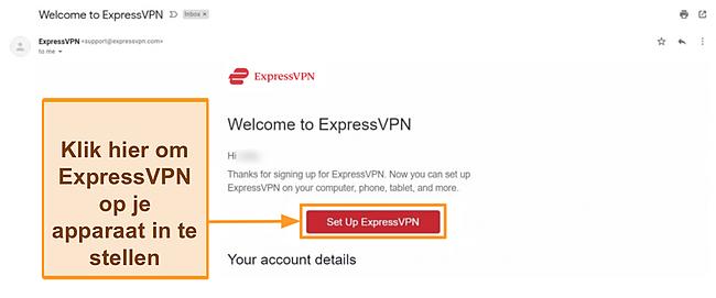 Screenshot van de welkomstmail van ExpressVPN aan nieuwe klanten met installatie-instructies