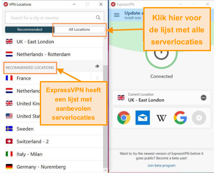 Screenshot van ExpressVPN-interface met serverslijst