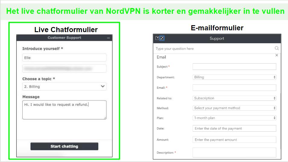 Schermafbeeldingen van een NordVPN-teruggaveverzoek via livechat in vergelijking met e-mail