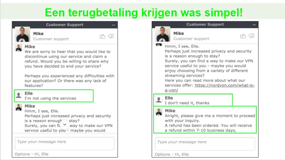Screenshots van een teruggaveverzoek via livechat met een NordVPN-klantondersteuningsagent.