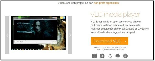 VLC officiële downloadpagina