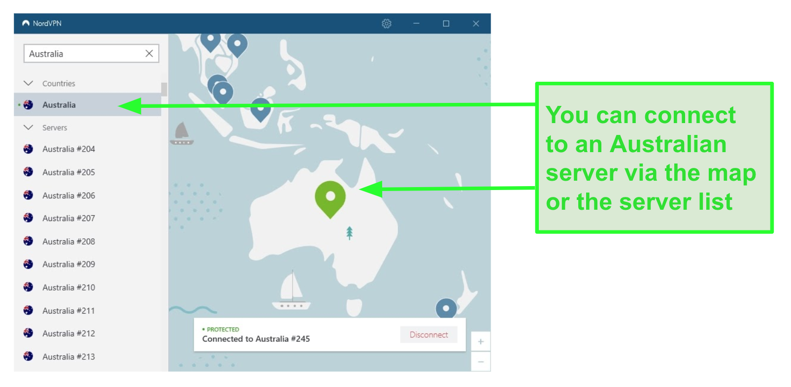 Screenshot of NordVPN's Australian servers