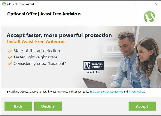 uTorrent Optionele aanbieding - Avast Free Antivirus