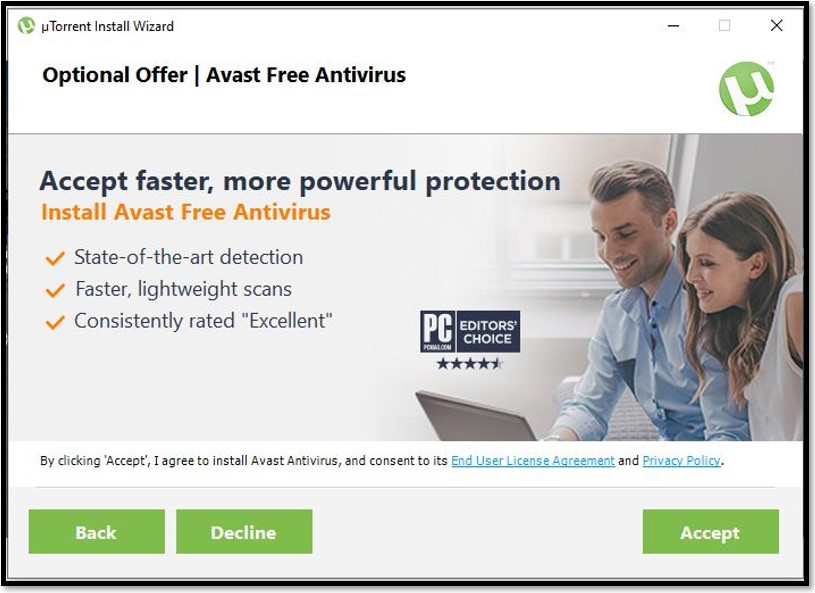 Optionales Angebot von uTorrent - Avast Free Antivirus