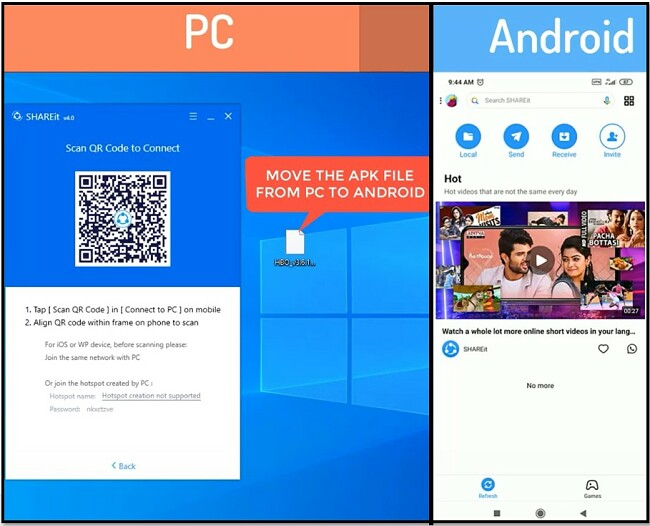 SHAREit - Open apps in Android and PC