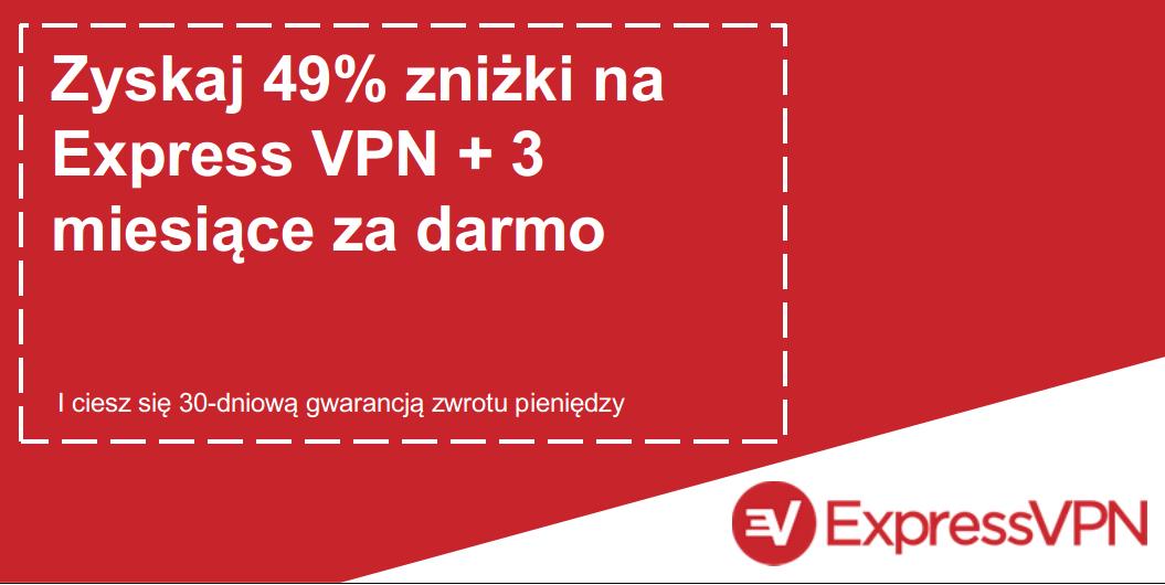 Grafika ważnego kuponu ExpressVPN oferującego 49% zniżki i 3 miesiące za darmo z 30-dniową gwarancją zwrotu pieniędzy