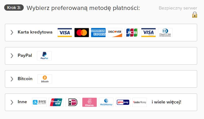 Zrzut ekranu opcji płatności na stronie ExpressVPN, w tym karty kredytowej, PayPal i Bitcoin