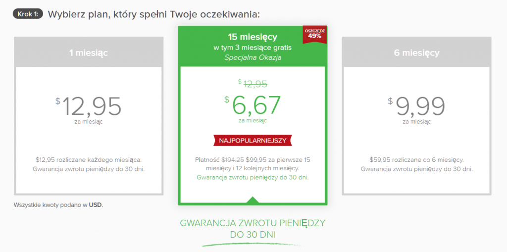 Zrzut ekranu planów subskrypcji na stronie ukrytego kuponu ExpressVPN