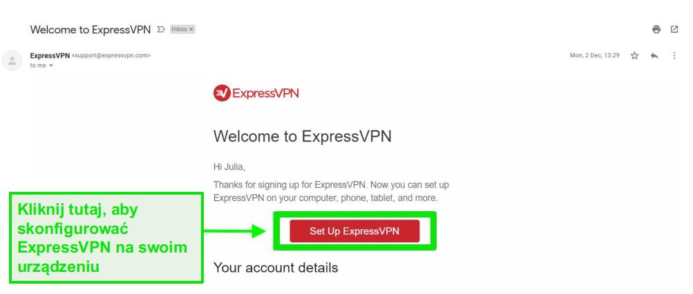 Zrzut ekranu e-maila powitalnego ExpressVPN z informacjami o konfiguracji konta