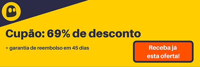 Gráfico de um cupom de VPN CyberGhost funcional que oferece um desconto de 69%, que é de $ 3,99 por mês em uma assinatura de 1 ano com garantia de reembolso de 45 dias