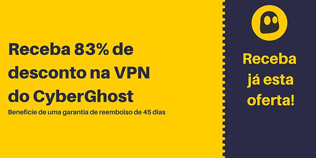 Gráfico de um cupom de VPN CyberGhost funcional que oferece 83% de desconto e 3 meses gratuitos com garantia de devolução do dinheiro por 45 dias