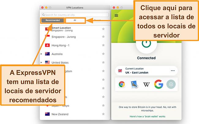 Captura de tela da lista de servidores do aplicativo ExpressVPN