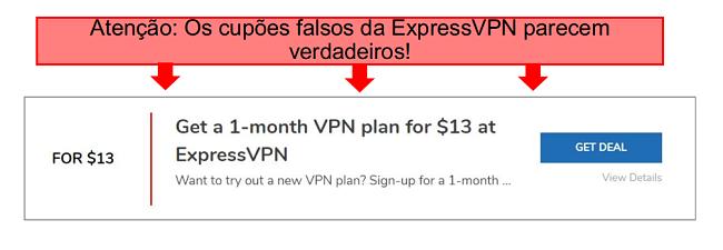 captura de tela com anotações de um cupom expressvpn falso
