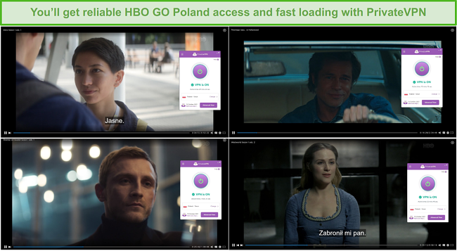 Screenshots of HBO GO Poland Movies shown with PrivateVPN