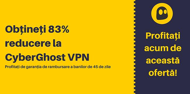 Graficul unui cupon CyberGhost VPN funcțional care oferă 83% reducere și 3 luni gratuit, cu o garanție de returnare a banilor de 45 de zile