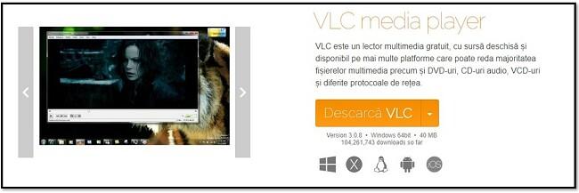 Pagina oficială de descărcare VLC