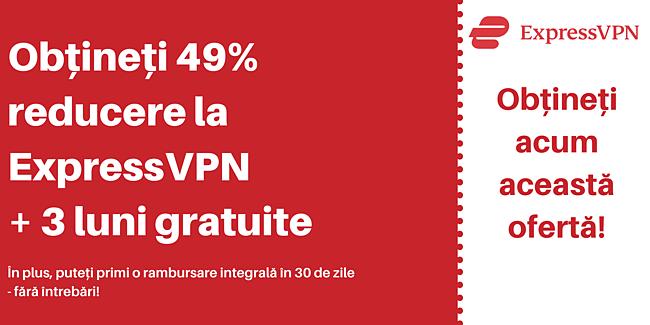 Cupon ExpressVPN cu 49% reducere și 3 luni gratuit cu o garanție de 30 de zile de returnare a banilor