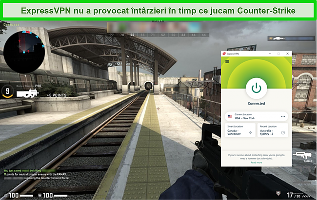 Captură de ecran a Express VPN conectat la un server din SUA în timp ce un utilizator joacă Counter Strike