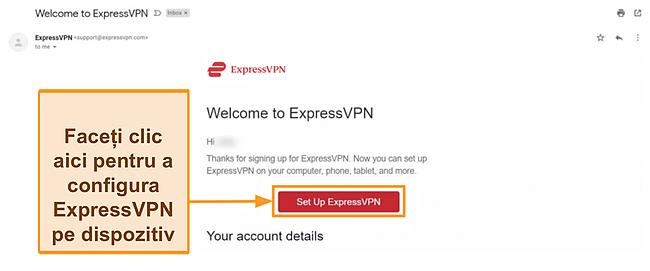 Captură de ecran a e-mailului de bun venit ExpressVPN către clienții noi cu instrucțiuni de configurare