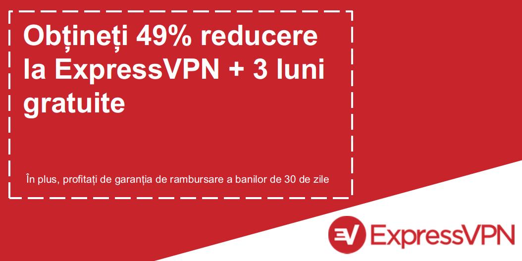 Graficul unui cupon ExpressVPN valid, care oferă reducere de 49% și 3 luni gratuit, cu o garanție de returnare de 30 de zile
