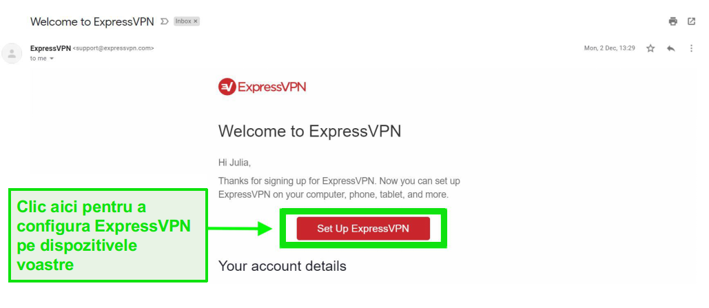 Screenshot de e-mail de întâmpinare ExpressVPN cu informații de configurare a contului