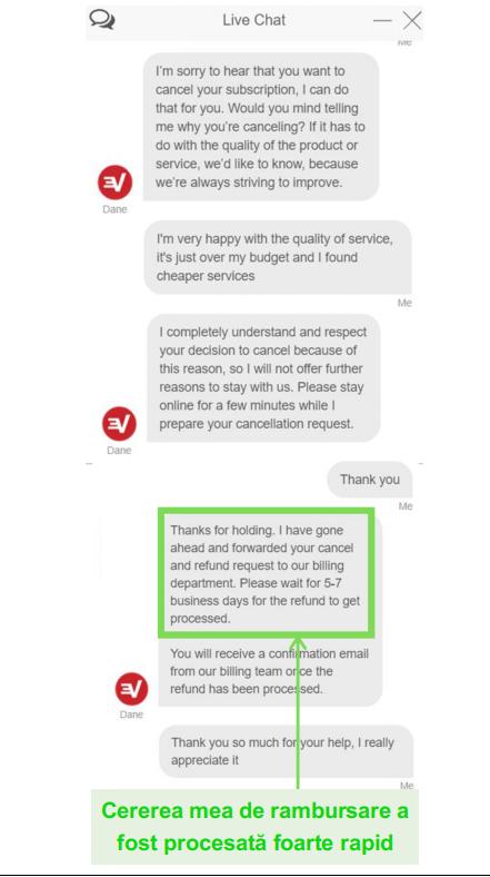 Captura de ecran a unei cereri de rambursare ExpressVPN prin chat live